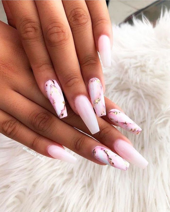 pink marble and gold nails, pink nail polish, very long coffin nails, nail art ideas, both hands photographed