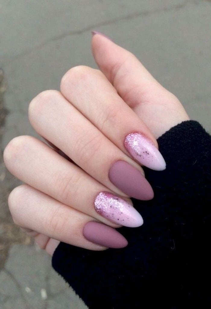 purple matte nail polish, pink glitter nail polish, nude matte nails. short almond shaped nails