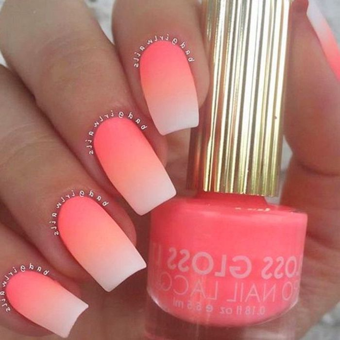 orange and white ombre, neon nail polish, nude matte nails, long square shaped nails, hand holding a nail polish bottle, nail designs for long nails