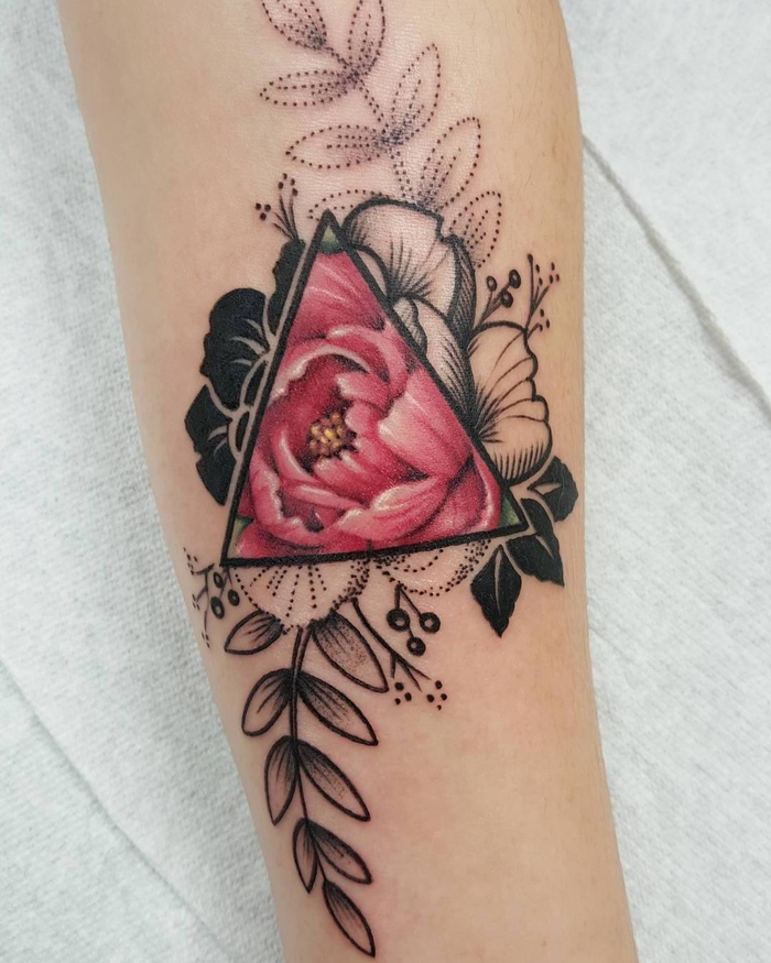rose in the middle of a triangle, forearm tattoo, geometric tattoo designs, white background