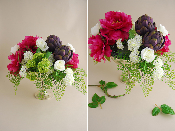flower bouquet, diy tutorial, kitchen table centerpieces, on a white countertop, side by side pictures