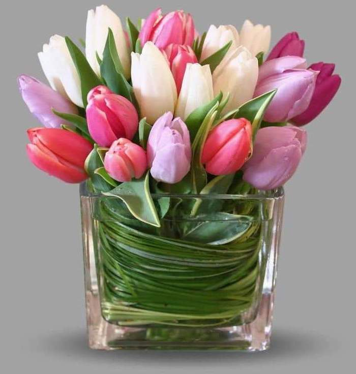 white pink and purple tulips, flower bouquet, small square glass vase, how to make flower arrangements