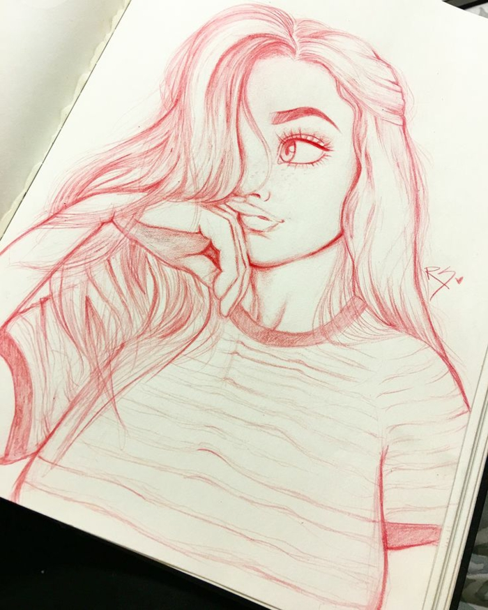 pink and white sketch, girl with long wavy hair, white sketchbook, how to draw a cute girl