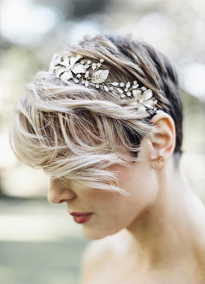 pixie cut, short hair, flower headband, wedding hairstyles, red lips, blurred background