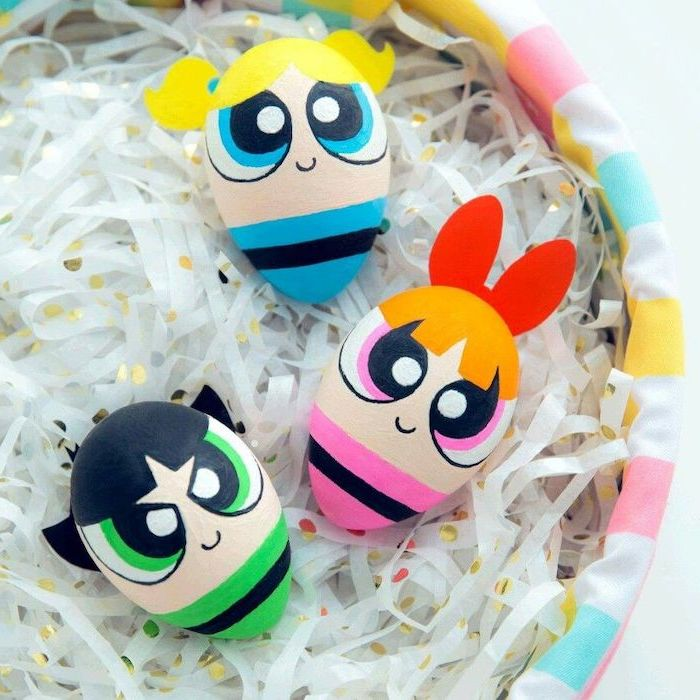 powerpuff girls inspired, natural easter egg dye, hair attached with glue, in a wooden basket