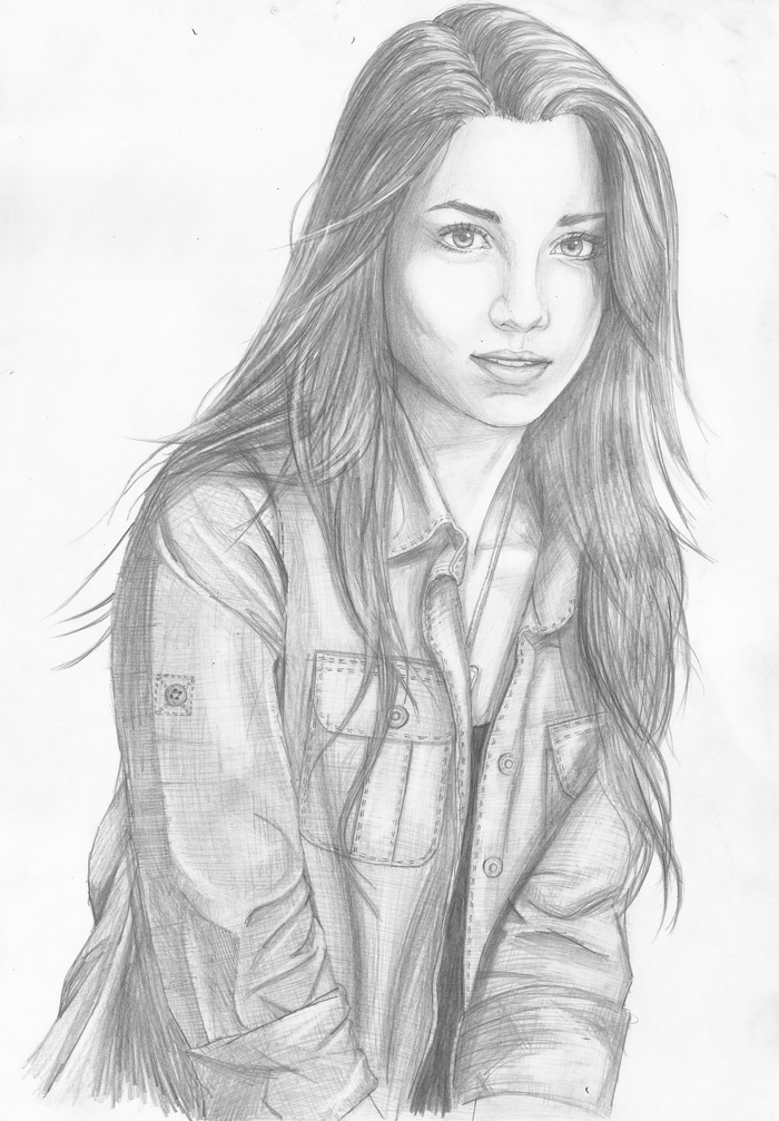 black and white sketch, how to draw a cute girl, long black hair, girl wearing a shirt