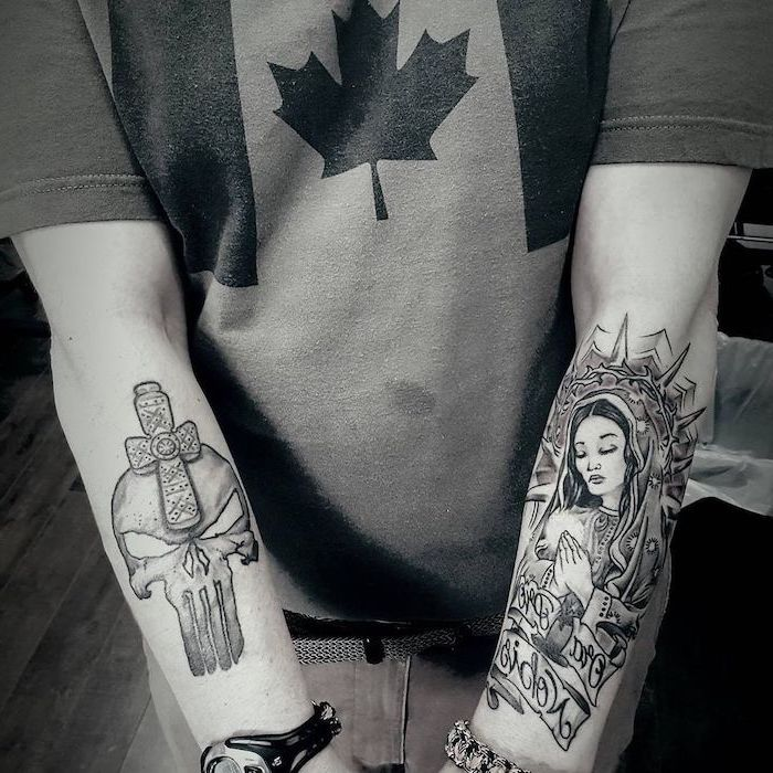 punisher forearm tattoo, religious icon forearm tattoo, tattoos for men with meaning, canada flag shirt
