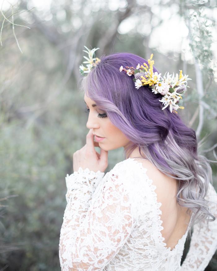 purple and grey, long wavy hair, flower headband, wedding hairstyles down, white lace dress