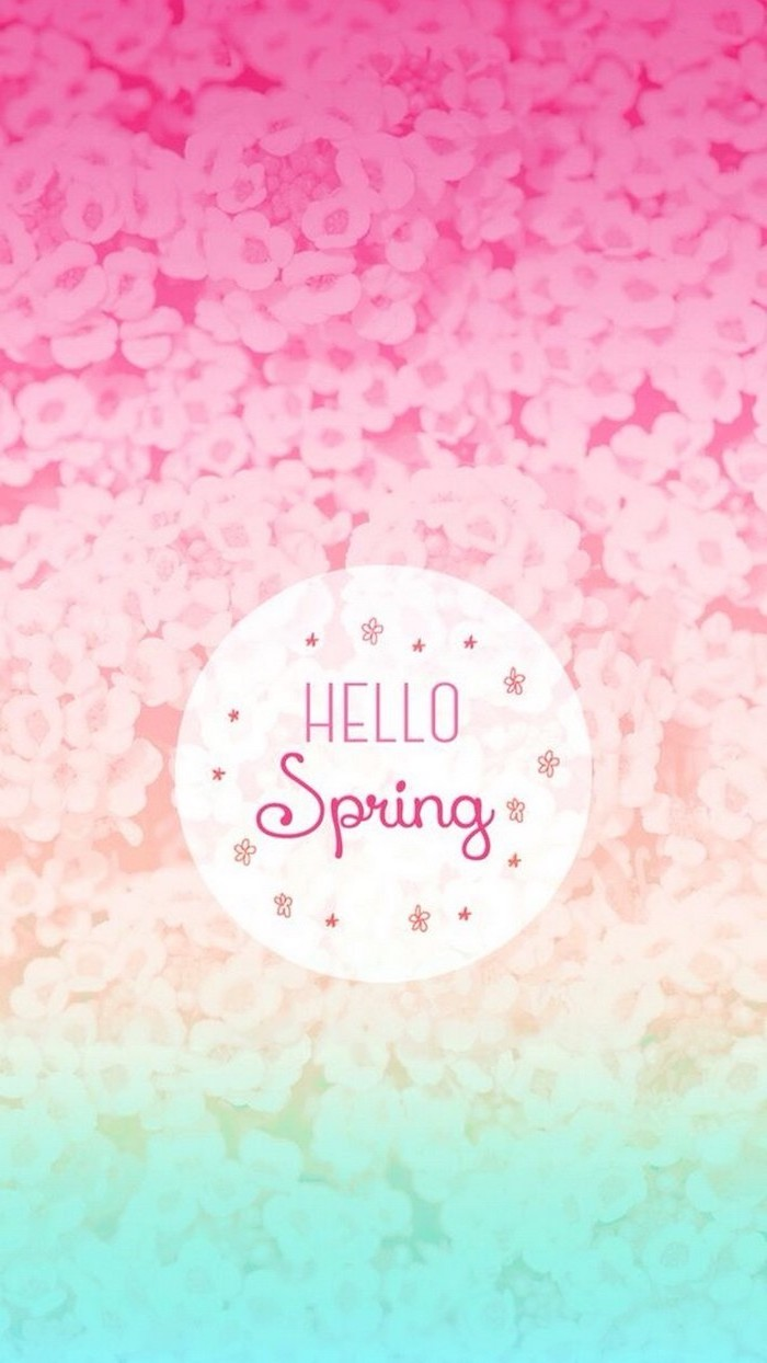 rainbow coloured phone background, hello spring quote, spring flowers wallpaper, floral background
