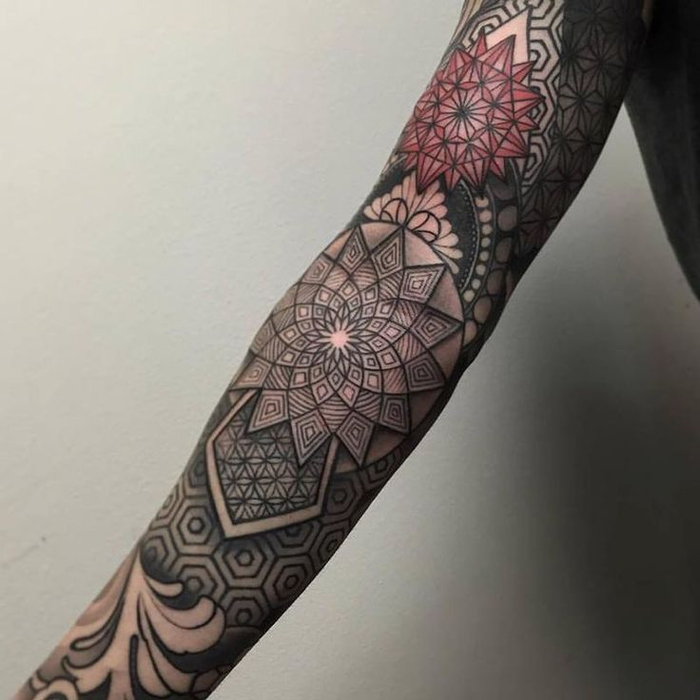 red and black geometrical sleeve tattoo, geometric tattoo designs, white background