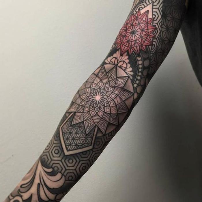 red and black geometrical sleeve tattoo, geometric tattoo designs, white background
