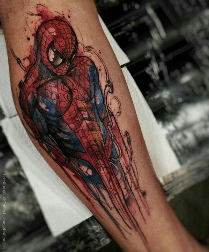 blue and red spiderman, watercolour leg tattoo, arm tattoos for men, leg on white paper sheets