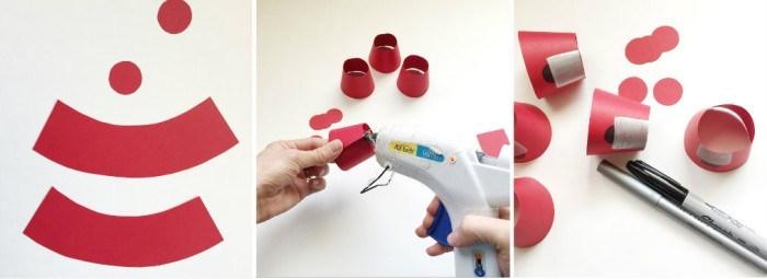 dying easter eggs, gum ball machine eggs, step by step, diy tutorial, red carton, glue gun, white background