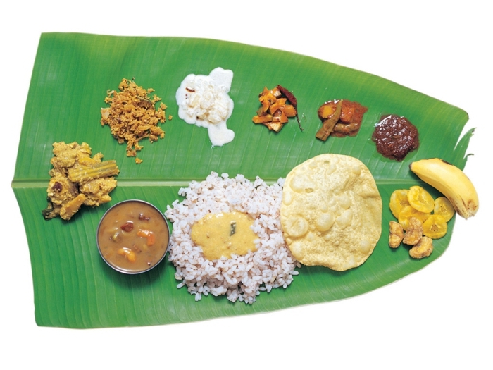 large palm leaf, white rice, nuts and bananas, healthy eating meal plan, yogurt and granola