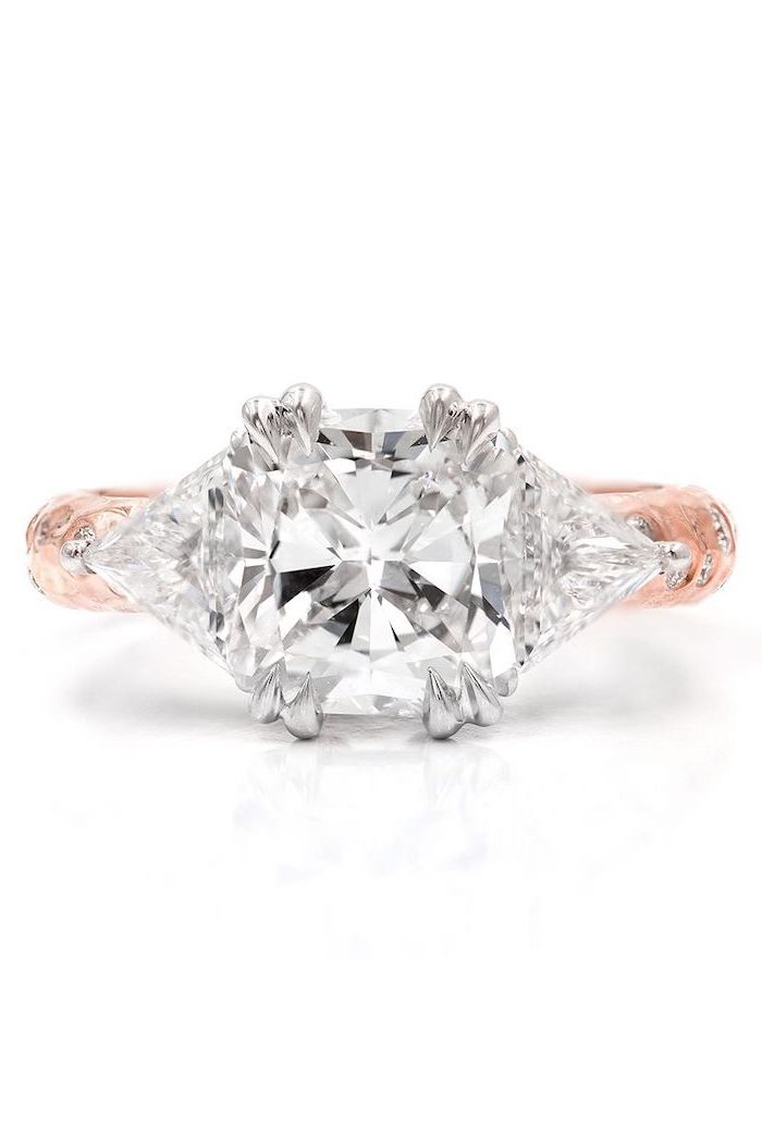 rose gold diamond studded band, unique engagement rings for women, large diamond in the middle