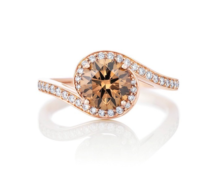 wedding rings for her, rose gold diamond studded band, round morganite stone in the middle