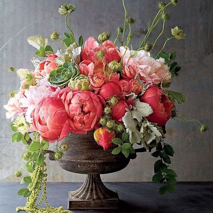 vintage vase, pink and white flowers, large flower bouquet, beautiful flower arrangements, in front of a grey background
