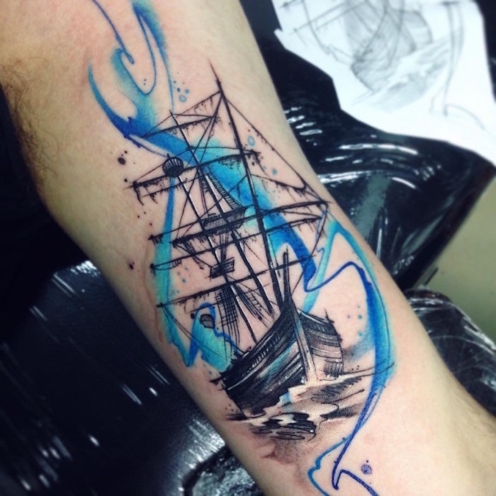 sailing ship, watercolour inner arm tattoo, inner arm tattoos, hand resting on a table, covered in nylon