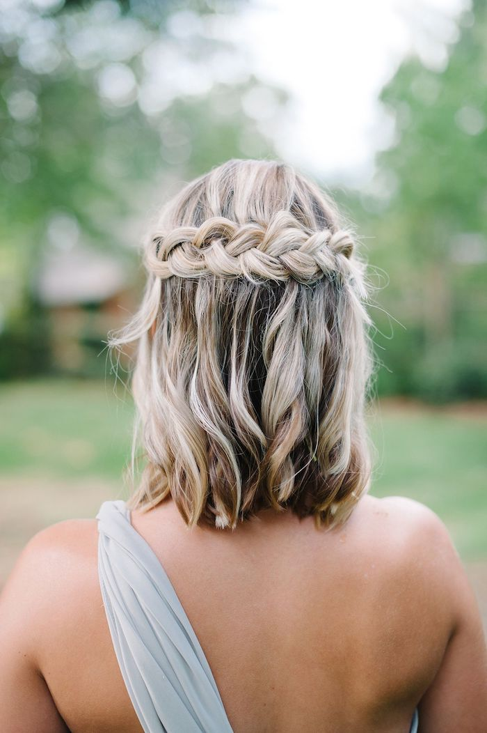 short brown hair, with blonde highlights, and a braid, grey shoulder strap, wedding hairstyles down