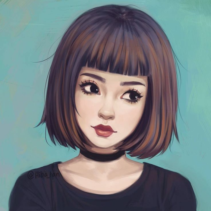 girl with short hair and bangs, wearing a black choker and top, how to draw a cute girl, standing in front of a turquoise background