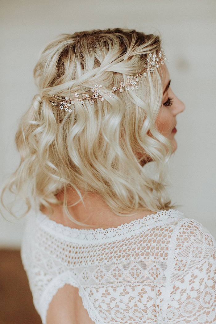 small pearl headband, short wavy blonde hair, white lace dress, wedding hairstyles for long hair