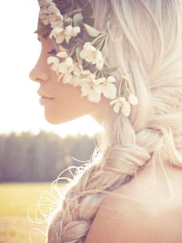 side braid, flowers in the hair, long blonde hair, wedding hairstyles for medium hair