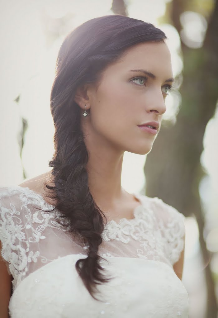 side braid, long brown hair, white lace dress, wedding hairstyles for medium hair, small earrings