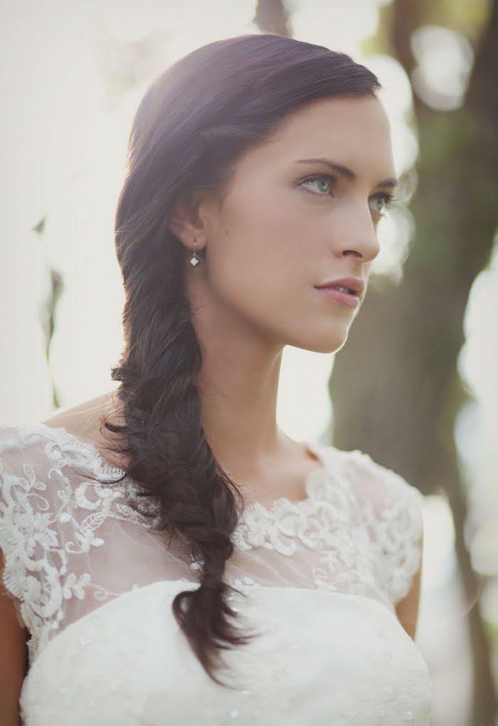 side braid, long brown hair, white lace dress, wedding hairstyles for medium hair, small earrings