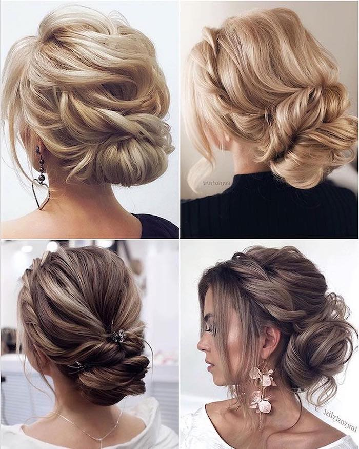 four side by side photos, brown and blonde long hairs, in low updos, easy to do hairstyles