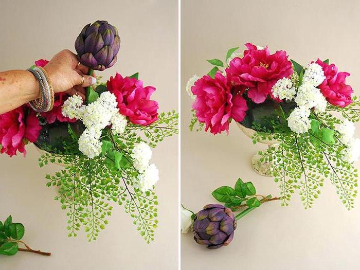 kitchen table centerpieces, small vase, being filled with flowers, colourful flower bouquet, side by side pictures