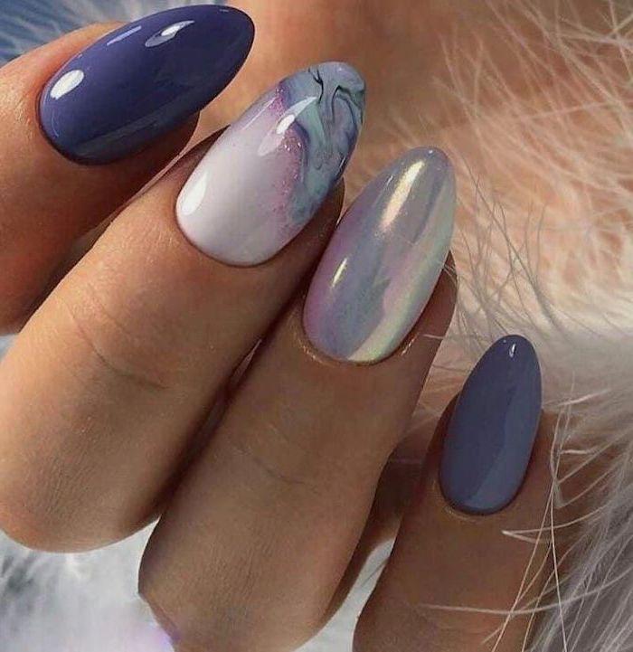 blue nail polish, white metallic nail polish, trending nail colors, marble white and blue nail, nail designs for long nails