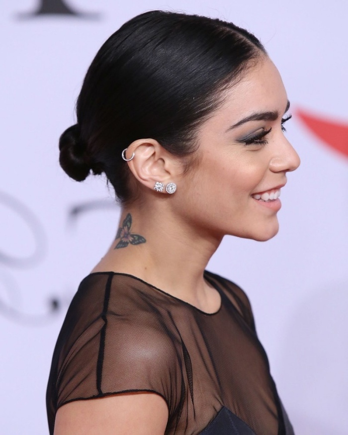 vanessa hudgens smiling, wearing a sheer black blouse, with black hair in a bob, cool small tattoos for guys