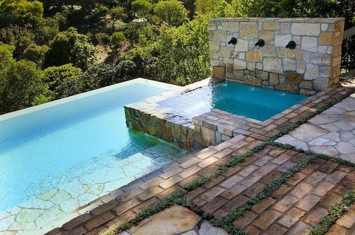 small swimming pool, with small fountains, small backyard patio ideas, brick tiles on the floor