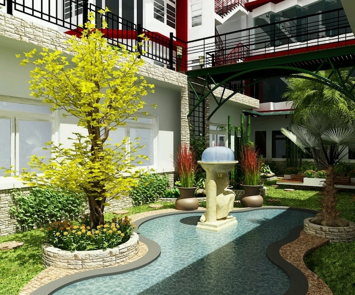 small pool, planted trees bushes and flowers, small backyard patio ideas, planted palm trees