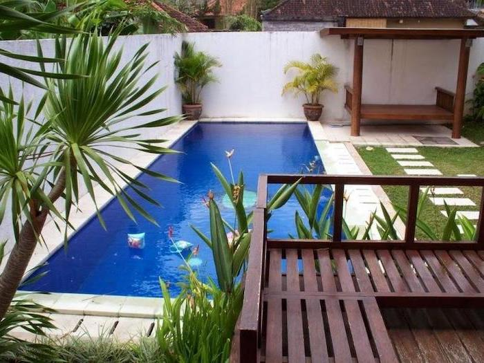 small swimming pool, potted palm trees, ceramic tiles over a grass patch, small yard landscaping, planted palm trees