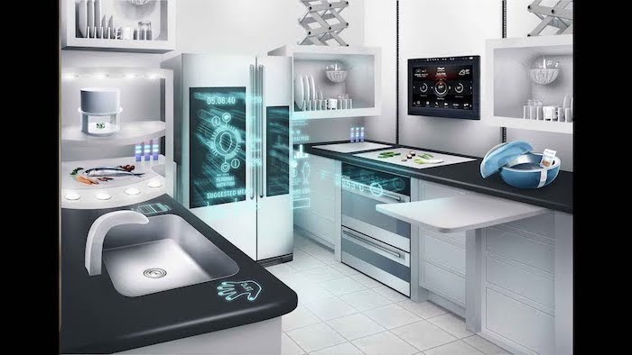 smart kitchen appliances, white cupboards and drawers, black counter tops, white tiled floor
