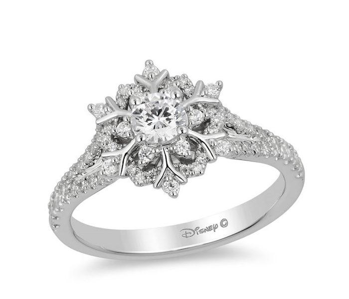 diamond studded band, engagement rings for women, elsa disney princess inspired ring, snowflake shaped diamond