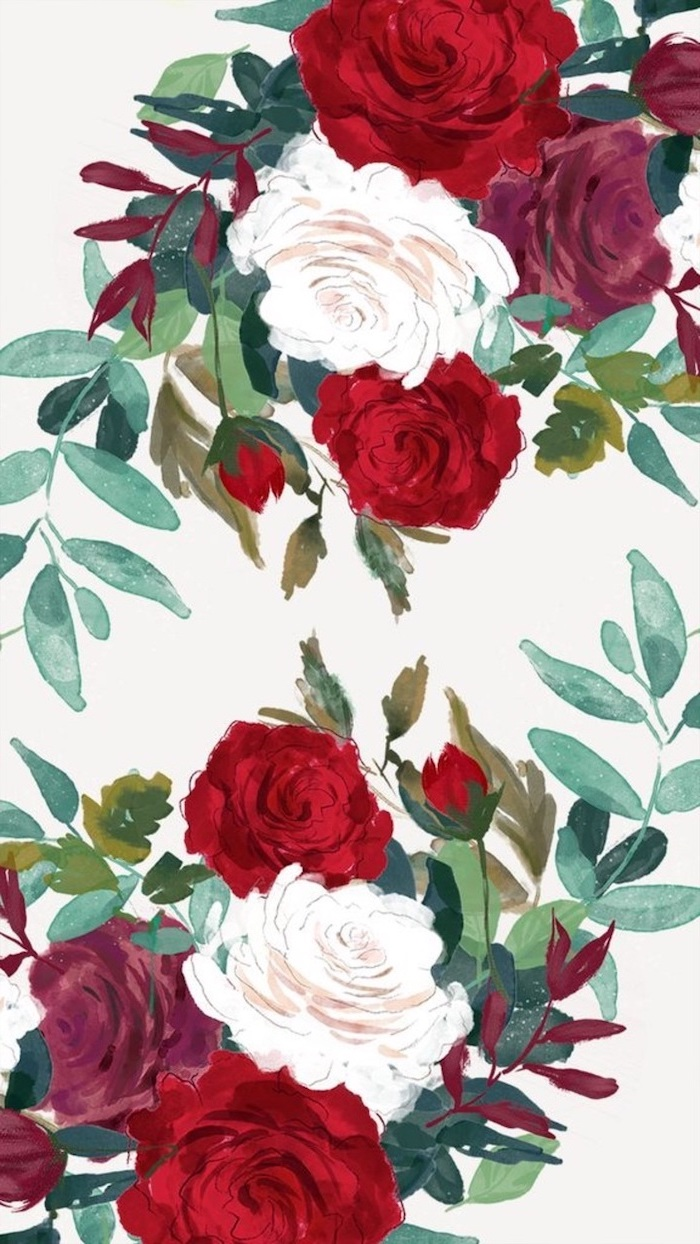 drawing of white red and purple roses, floral phone wallpaper, spring flowers wallpaper, white background