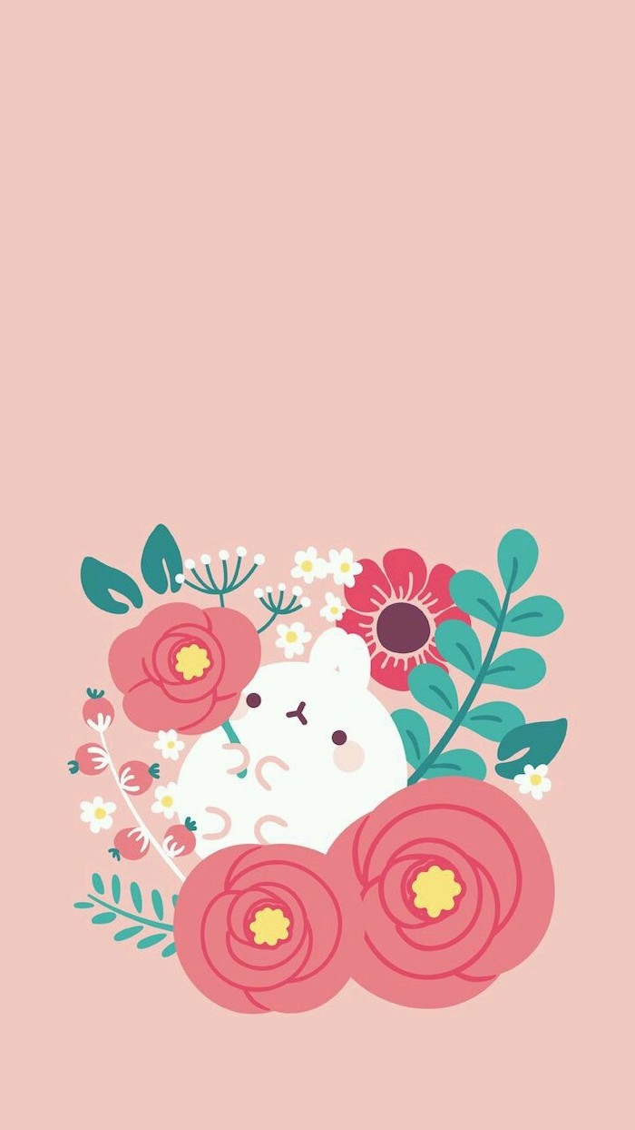 orange background, phone wallpaper, bunny holding flowers drawing, pictures of spring