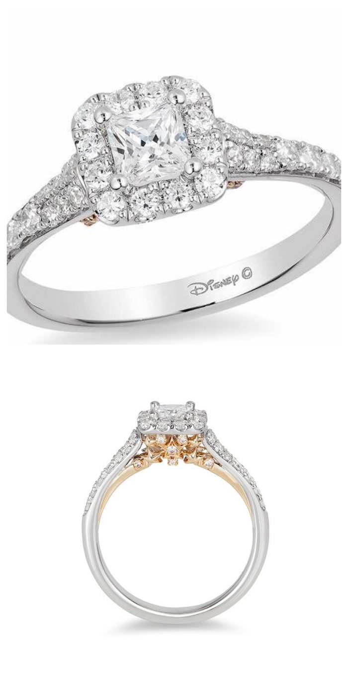 square cut diamond, engagement rings for women, tinkerbell disney inspired ring, white background