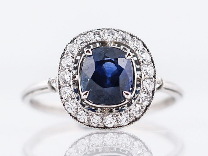 diamond band engagement rings, square cut sapphire in the middle, white gold band
