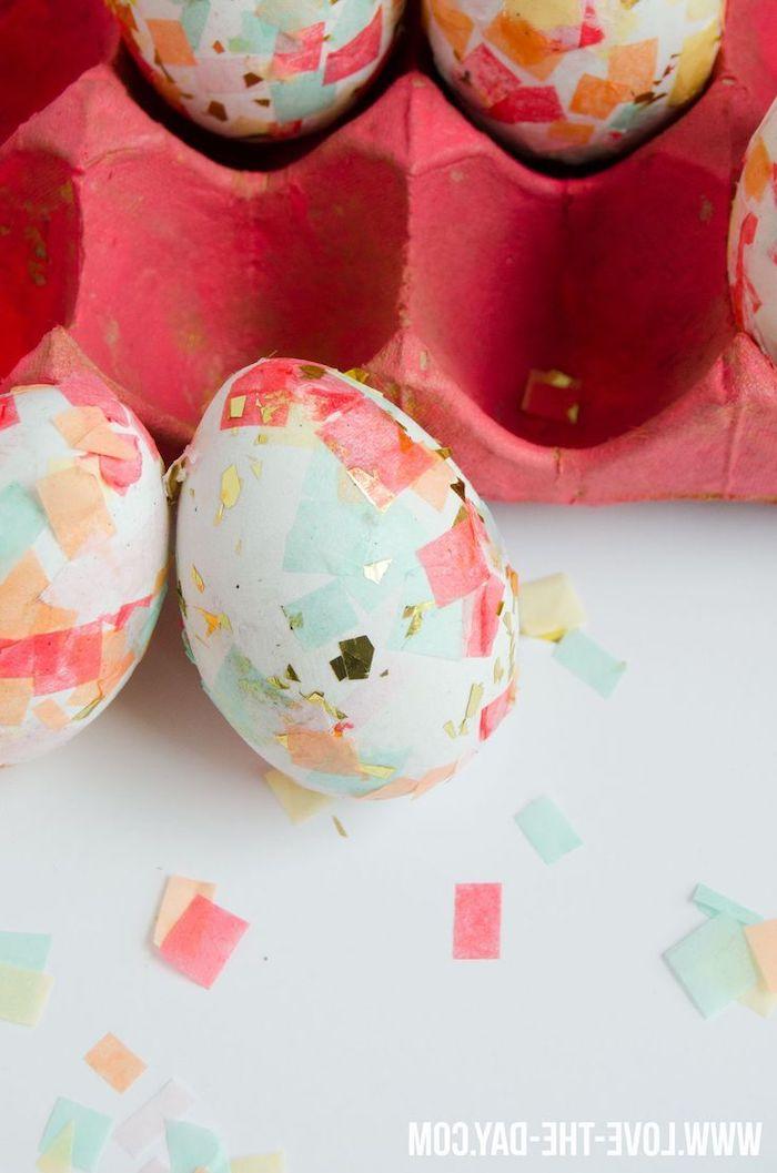 how to dye easter eggs, pink egg carton, diy tutorial, confetti eggs, white countertop, white eggs