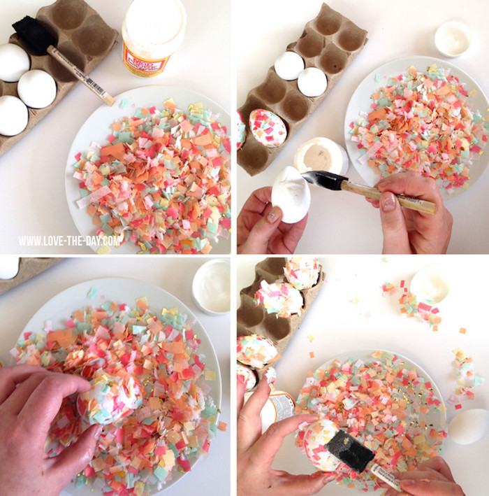 step by step, diy tutorial, confetti eggs, bowl full of confetti, dying eggs with food coloring
