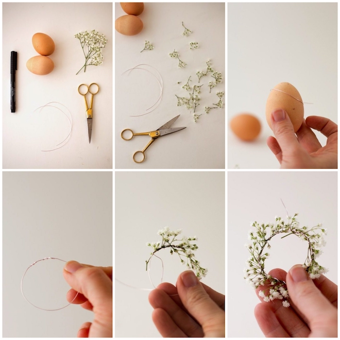 step by step, diy tutorial, shaving cream eggs, baby's breath wreath, necessary tools, how to do it