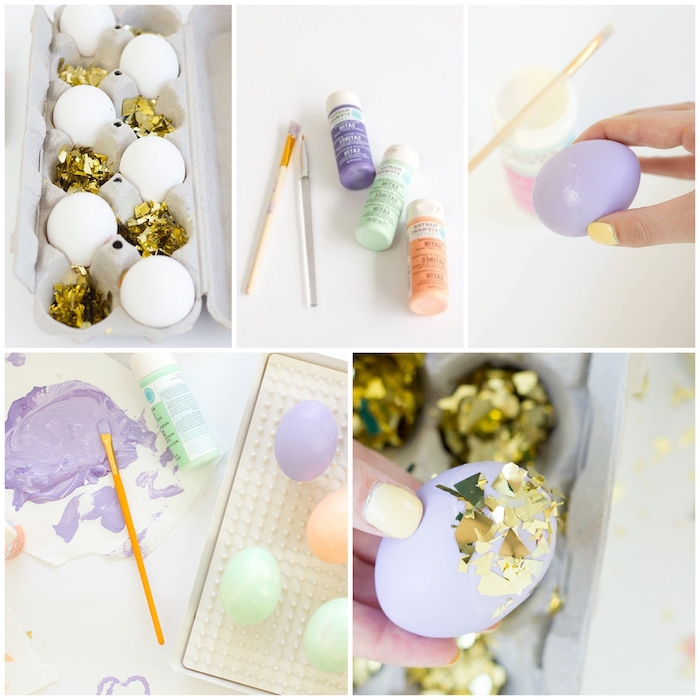 step by step, diy tutorial, confetti eggs, paint and brushes, eggs in an egg carton, gold confetti