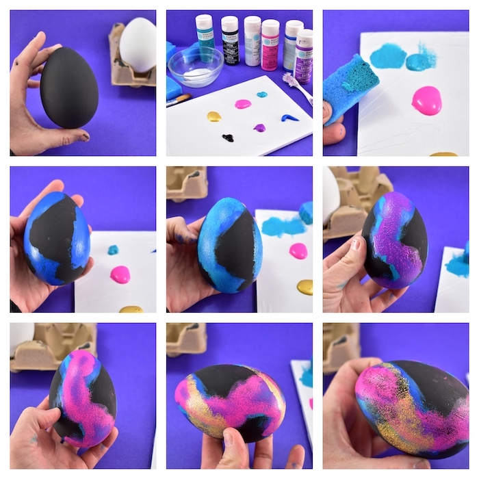 step by step tutorial, how to dye eggs, galaxy eggs, diy tutorial, black egg dye, different colours