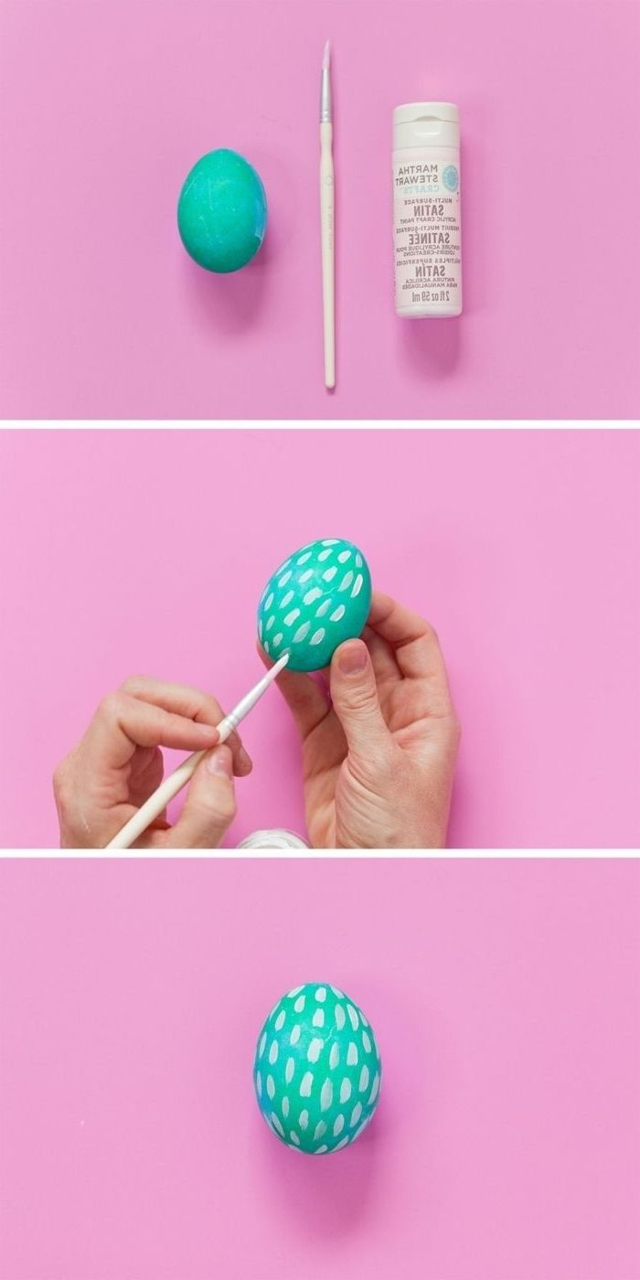 step by step, diy tutorial, paint brush strokes eggs. turquoise egg, how to dye ester eggs, pink background