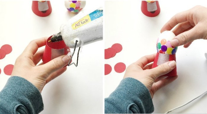 gum ball machine eggs, step by step, diy tutorial, dying easter eggs, glue gun, white background