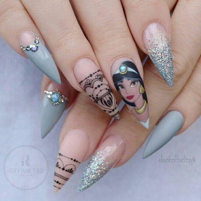blue nail polish, nail color ideas, disney inspired jasmine drawing, long stiletto nails