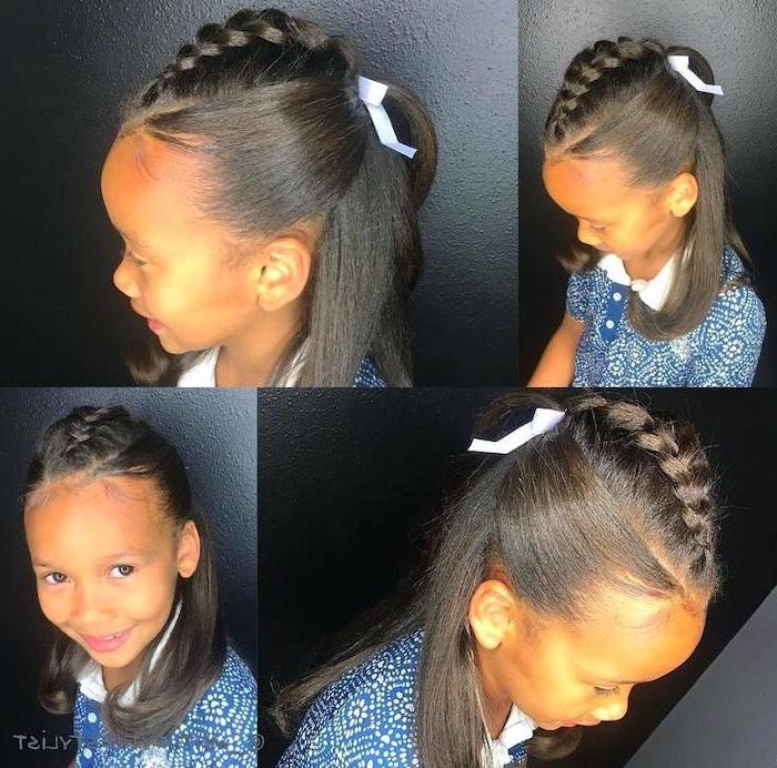 straightened black hair, braid ending in a ponytail, black background, flower girl hairstyles